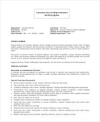 Customers Service Job Description Sample Customer Service Representative Resume 7 Examples
