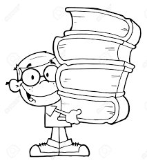 1175x1300 smart boy carrying a stack of books royalty free cliparts
