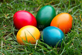 Colorful Easter Eggs In Green Grass Spring Egg Hunt Stock