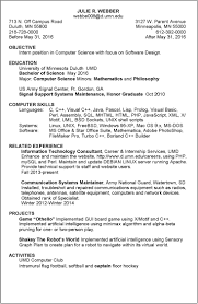 Resume Examples Umd Objective For Internship Engineering Juliew