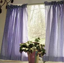 purple gingham kitchen café curtain unlined or with white or blackout lining in many custom lengths
