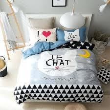 gray patterned duvet covers grey cat print duvet cover set 100 cotton 3 4pcs twin queen