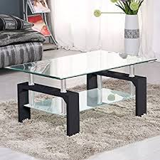 SUNCOO Coffee Table Clear Glass Top With Shelves For Living Room (Black)  Amazon.com