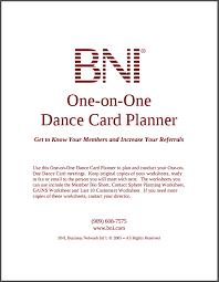 bni 121 dance card