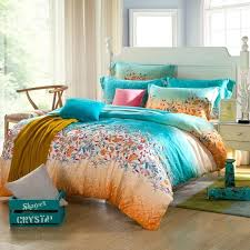 teal blue orange tribal fl print full queen size orange bedding sets and covers