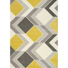 5 x 8 medium geometric gray cream and yellow area rug shuff view