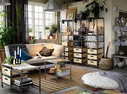 industrial style living room furniture. Relaxed Living Room With Industrial Style Wood And Metal Furniture White Sofa.