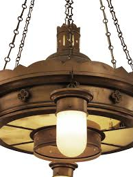 american 1940s brooklyn church brass and steel downlight chandelier with original shades for