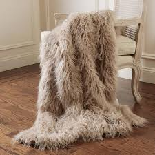 best home fashion faux mongolian lamb fur 60 in l taupe throw