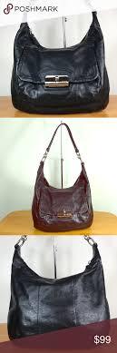 Coach 💙 Kristin Leather Shoulder Bag Hobo Purse Coach Kristin Black Leather  Hobo Bag 19293 This