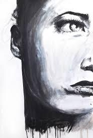 black white oil painting portrait women