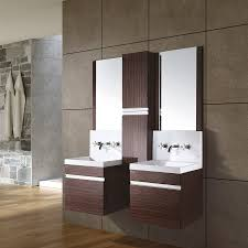 double sink bathroom vanity with makeup table small master bathroom design gray stained wall floating mirror