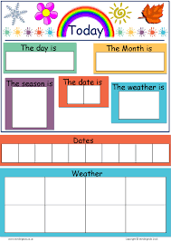 Date Chart For Classroom Today Is Dates Weather Seasons Chart Mindingkids