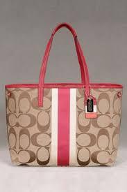 Coach Hamptons Weekend Signature Stripe Tote In Khaki   Berry. - handbags  discount, large handbags for cheap, designer handbags online