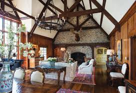 Decorations:Hunting Room Design Idea With Wood Structure And Brick Wall  Design Also Country Furnishings