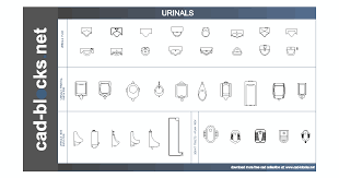 urinals and squat toilet in plan frontal and side elevation view cad blocks