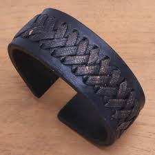 black leather cuff bracelet with criss cross laces tenacity