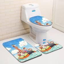 zeegle cartoon printed 3pcs bath mats set anti slip bathroom floor mats shower mat flannel