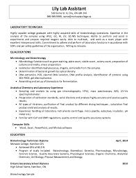 Sample Of Laboratory Technician Resumes Http Resumesdesign Com