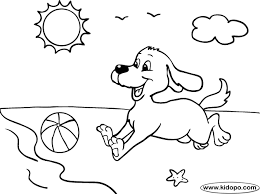 Small Picture Dog at the beach coloring page
