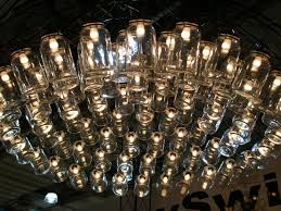 very large chandelier light fixutre made of glass jars idea