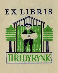 bookplate of jiri dyrynk description states ex libris jiri dyrynk depicts a man holding an open book in front of a building and surrounded by two