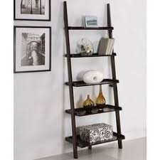 Walnut Five-tier Leaning Ladder Book Shelf/ for main livingroom