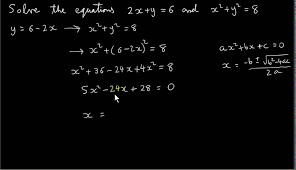 simultaneous equations one linear and one non linear