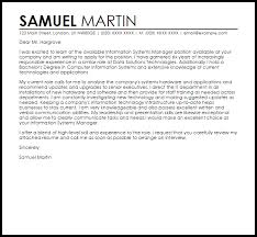 Information Systems Manager Cover Letter Sample Cover Letter