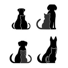 dog and cat black and white. Simple And Four Dogs And Cats Sitting Together In Silhouette Inside Dog And Cat Black White