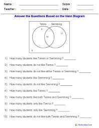 Venn Diagram Math Problems Venn Diagram Worksheets Word Problems Using Two Sets