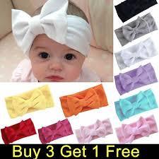 Girls Kids Baby Cotton <b>Bow Hairband Headband</b> Stretch Turban ...