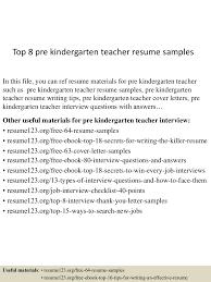 Pre School Teacher Resume