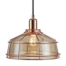 rose gold pendant light metal mini lamp with vintage cage