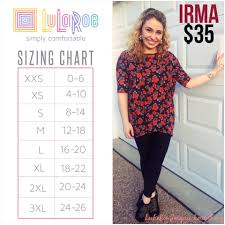 Heres A Sizing Chart The Irma Tunic Top This Top Is
