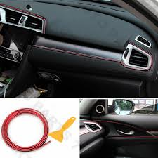 details about 5m car interior molding trim insert decor strip line gap chrome red filler kit