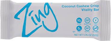 zing vital energy nutrition bar coconut cashew crisp 12 bars high