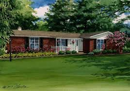 brick ranch house red brick ranch house watercolor portrait home building plans traditional portrait 6 brick brick ranch house