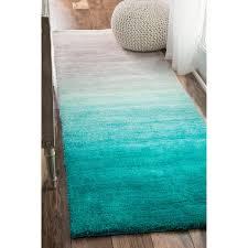 Turquoise runner rug