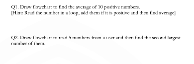 Solved Q1 Draw Flowchart To Find The Average Of 10 Posit
