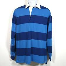 ll bean lakewashed rugby polo shirt men s small blue striped long sleeve cotton