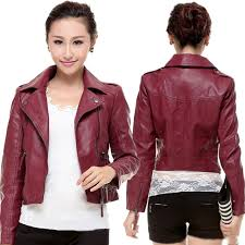fashion womens casual pu leather tops motorcyclist short coat jacket outwear qflv62764
