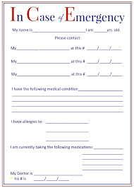 Luxury In Case Of Emergency Form Template Best Sample Excellent
