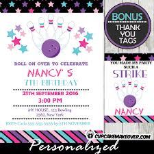 Bowling Party Invitation Purple Bowling Ball Pins Birthday Invitation Personalized D4