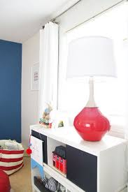 modern nursery lighting. colorful red lamp from lamps plus at pencil shavings studio boy nursery modern lighting