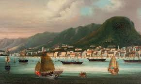 chinese artist late 1850s hong kong from the harbour oil on canvas 12 ¼ x 20 ¾ in 31 1 x 52 7 cm provenance martyn gregory cat 64 1994 no 126
