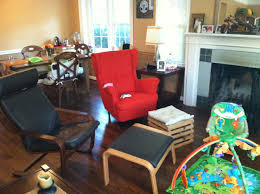 my new orange strandmon wing chair from ikea i love the way it has warmed up the room