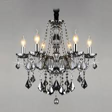 gracefully smoky gray crystal strands and droplets 6 light traditional chandelier