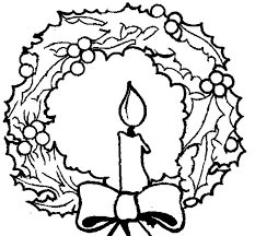 Christmas Candle And Christmas Wreath Coloring Pages Download