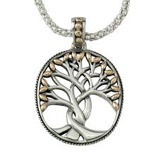keith jack tree of life pendant sterling silver and 18kt gold leaves